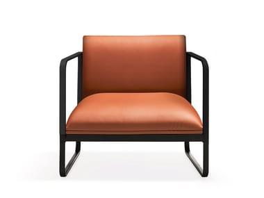 Sled base leather armchair with armrests LOFT X | Armchair