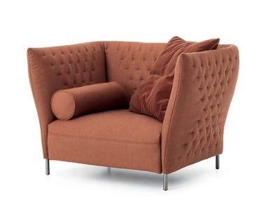 Upholstered fabric armchair QUILT | Armchair
