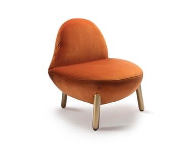 Cadeira lounge estofada de veludo CIRRUS | Cadeira lounge