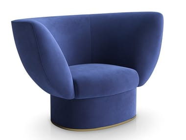 Velvet armchair with armrests TULIPA | Armchair