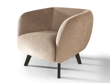 Leather armchair with armrests CLAUDE | Armchair