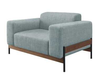 Upholstered fabric lobby chair with armrests BOWIE | Armchair