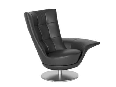Swivel leather armchair with armrests DS-262 | Armchair with armrests