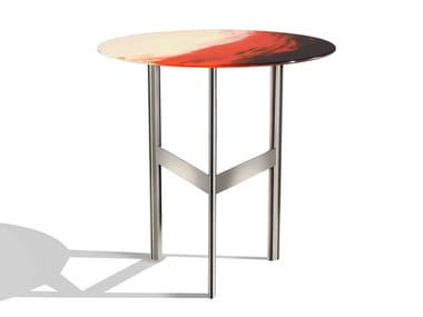 Tavolino rotondo in acciaio e vetro ART GLASS