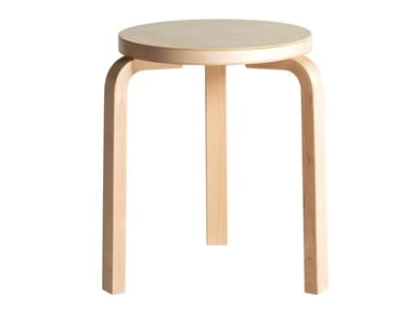 Low stackable birch stool ARTEK - 60 Birch