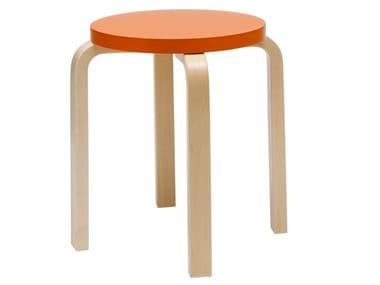 Low stackable wooden stool ARTEK - E60 ORANGE