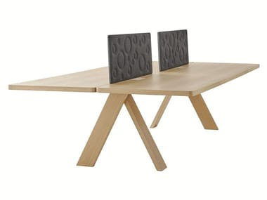 Multiple wooden office workstation with sound absorbing screens ARTFUL   Multiple office workstation