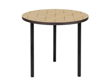 Round wood veneer coffee table ARTY 50 TRIANGLE