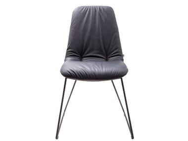 Stuhl aus Leder mit Kufengestell PLIES CASUAL | Stuhl
