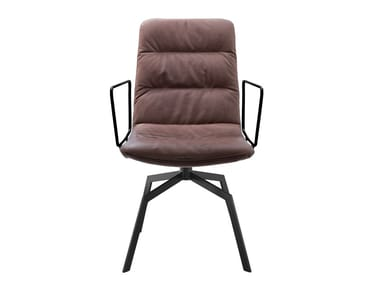 Upholstered leather chair with armrests ARVA LIGHT | Chair with armrests
