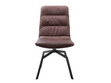 Upholstered trestle-based leather chair ARVA LIGHT | Trestle-based chair