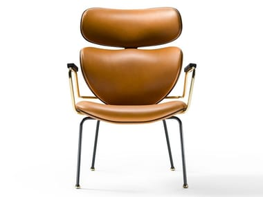 Leather chair with armrests ASIA