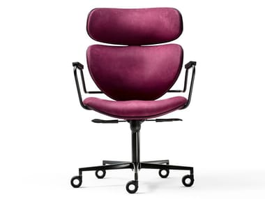 Nabuk office chair with armrests ASIA OFFICE