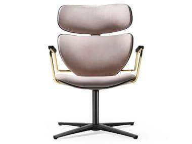 Swivel nabuk chair with armrests ASIA SWIVEL | Nabuk chair