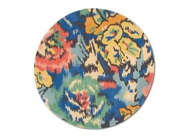 Tappeto rotondo in lana-viscosa, tuftato a mano a fiori ASPEN