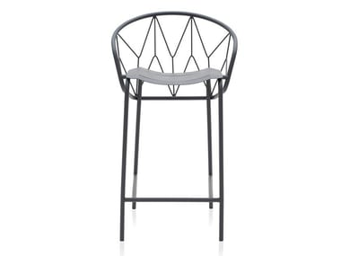 Powder coated steel stool with footrest ATAMAN MESH | Stool