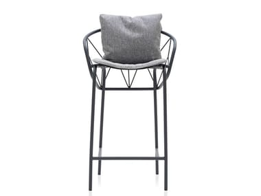 Powder coated steel stool with integrated cushion ATAMAN MESH | Stool with integrated cushion