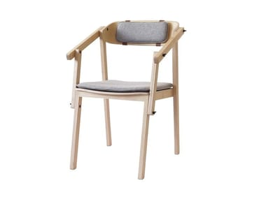 Ash chair with integrated cushion ATELIER | Chair with armrests