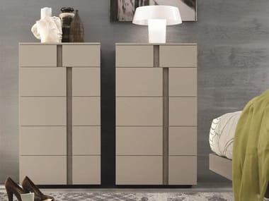 Lacquered wooden chest of drawers with integrated handles ATHENA   Chest of drawers