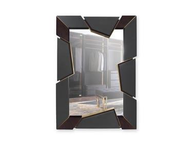 Rectangular wall-mounted leather mirror ATHOS