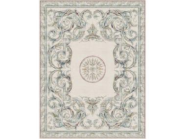 Handmade rectangular rug AUBUSSON HERALDY BLEU DE FRANCE