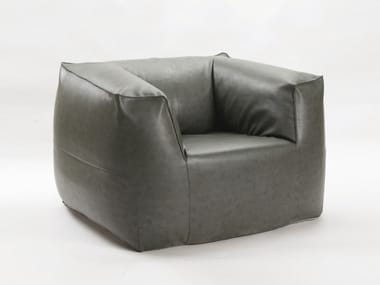 Leather easy chair with removable cover with armrests AUDREY