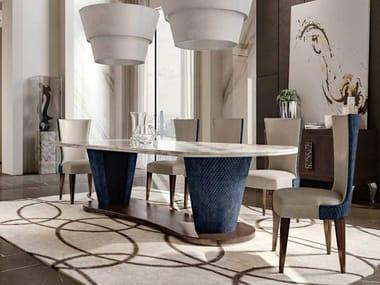 Tavolo da pranzo ovale in marmo e tessuto DIASPRO | Tavolo ovale