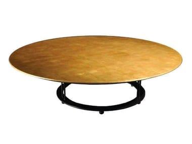 Tavolino basso rotondo foglia oro da salotto AUREOLA | Tavolino da salotto