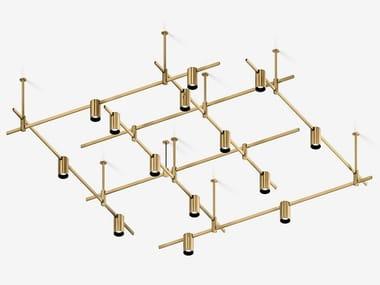 Illuminazione a binario a LED in ottone satinato AUROOM SQUARE