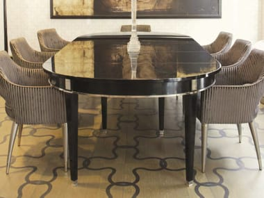 Extending oval wooden dining table AURORA