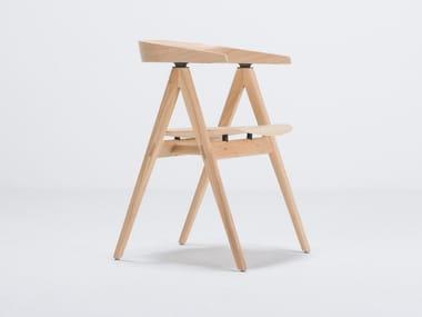 Stuhl aus Eichenholz mit Armlehnen mit offener Rückenlehne AVA | Stuhl aus Eichenholz