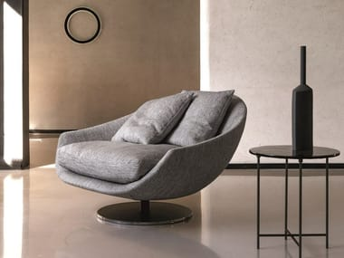 Swivel fabric armchair with removable cover with armrests AVÌ | Fabric armchair