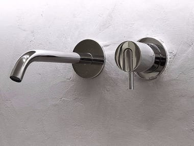 2 hole wall-mounted single handle stainless steel washbasin mixer AYATI | Wall-mounted washbasin mixer