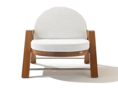 Garden recliner mahogany and fabric deck chair AZÚRE