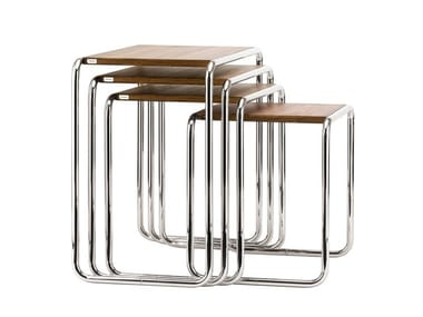 Steel and wood side table B 9 Thonet Pure Materials