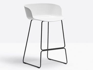 Contemporary style sled base high plastic stool with armrests BABILA 2747