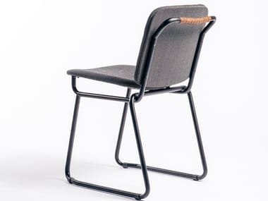 Sled base fabric chair with integrated cushion BABYLONE 03