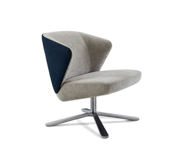 Swivel fabric easy chair with 4-spoke base with armrests BACK ME UP SALON | Easy chair with 4-spoke base