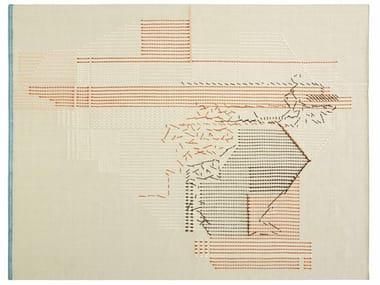 Tapis fait main rectangulaire à rayures en laine BACKSTITCH COMPOSITION BRICK