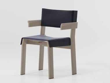 Aluminium chair with armrests BAND | Chair with armrests
