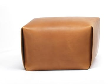 Upholstered rectangular tanned leather pouf BAO