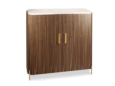Wood veneer and Estremoz marble bar cabinet MALCOLM | Bar cabinet