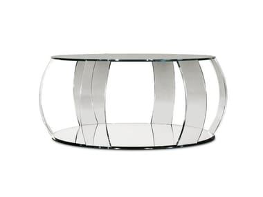 Tavolino rotondo in vetro da salotto BARRIQUE | Tavolino basso