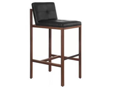 Wood and upholstered bar stool with back WOOD FRAME DINING | Bar Stool