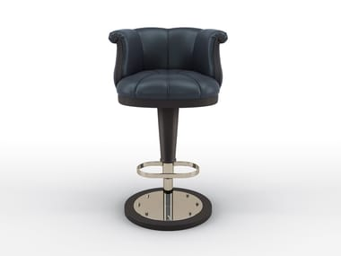 High leather barstool with footrest FLOWER | Barstool