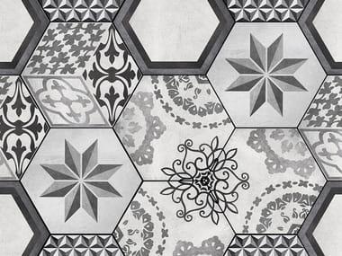 Indoor/outdoor wall/floor tiles with encaustic effect BASALT DECOR