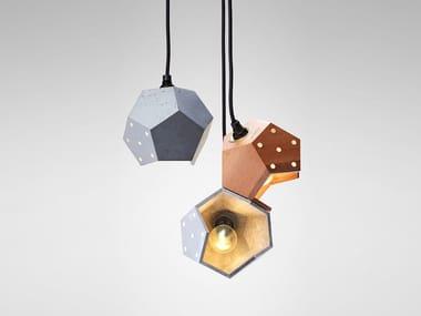 Walnut and concrete modular pendant lamp BASIC TWELVE TRIO | LED pendant lamp