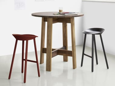 Round solid wood high table BASIS | High table