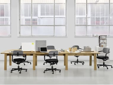 Rectangular solid wood workstation desk BASIS | Workstation desk