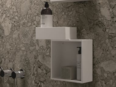 Open suspended Tecnoril® bathroom wall cabinet NEROLAB | Bathroom wall cabinet